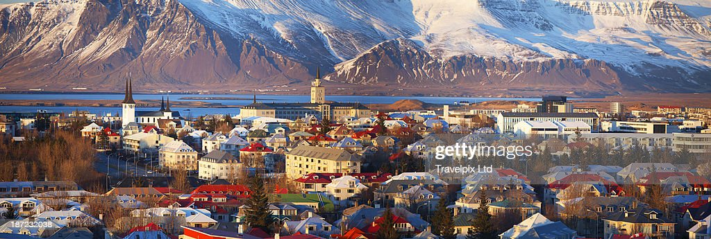 Elevated view over Reykjavic, Iceland