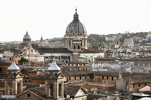 Elevated view over rooftops in Rome