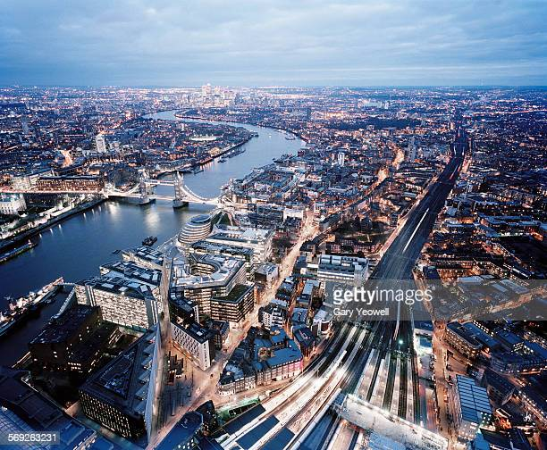 Elevated view over the city of London at dusk