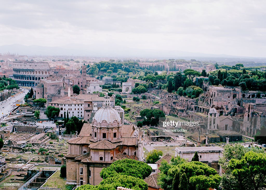 Elevated view over the Roman Forum