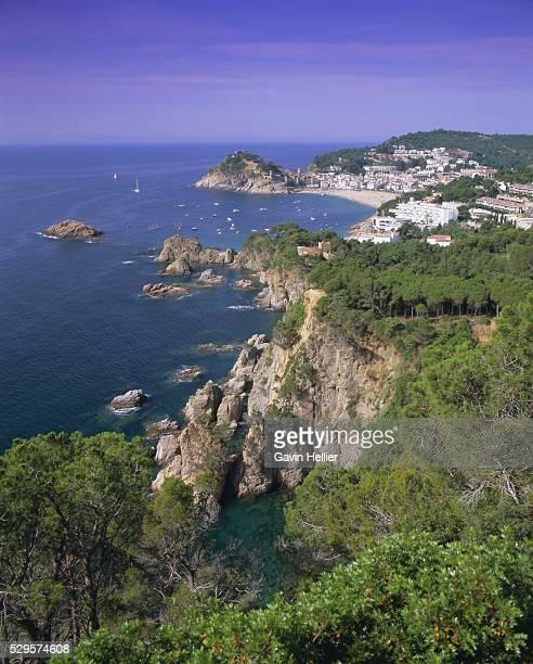 Elevated view towards Tossa de Mar, Costa Brava, Catalunya (Catalonia) (Cataluna), Spain, Europe
