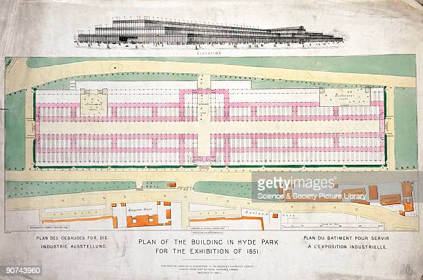 Elevation and coloured plans of the layout showing buildings in the surrounding area by the royal geographer James Wyld The Crystal Palace was built...