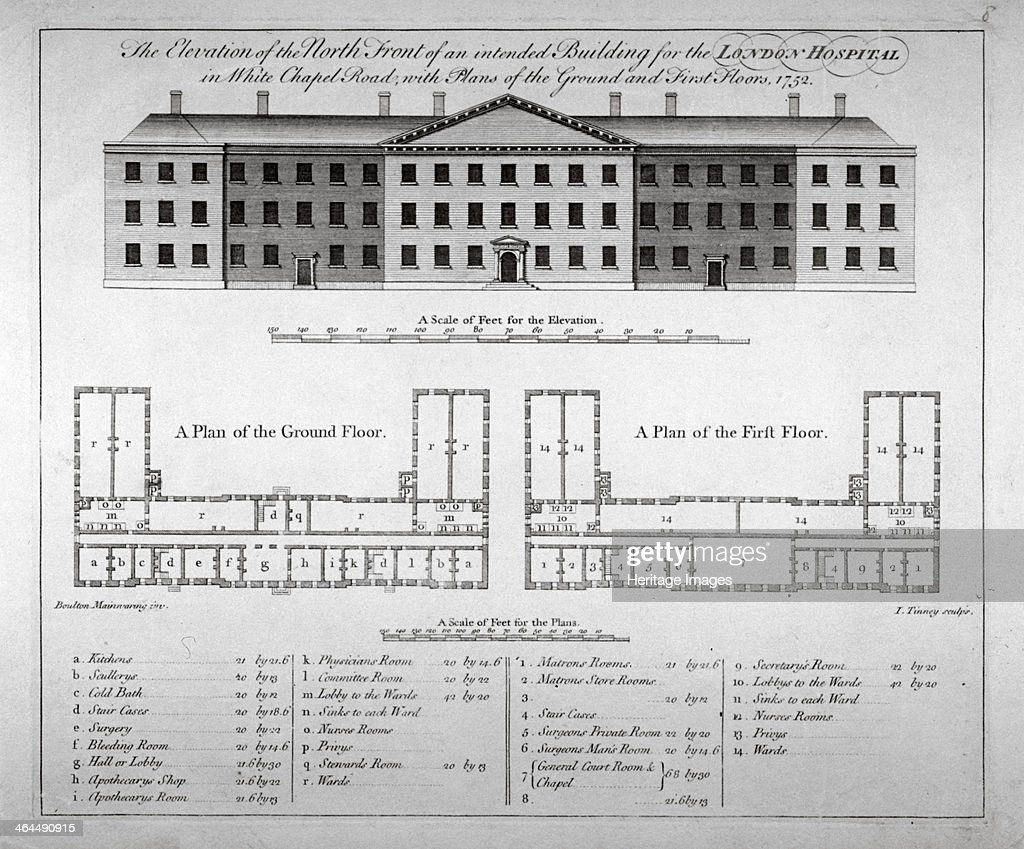 Elevation of the north front and plans of London Hospital Whitechapel London 1752 The hospital which was founded in 1740 moved into this building in...