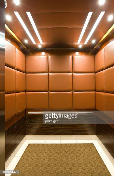 Elevator in a luxury high rise.