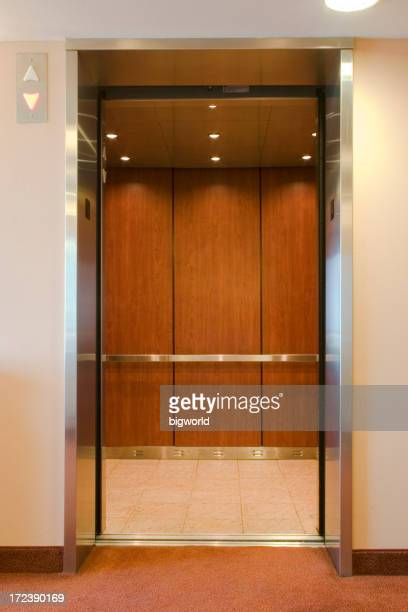 Elevator with open doors