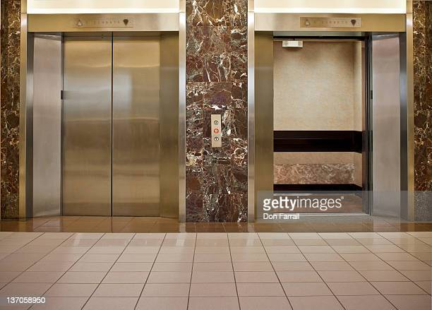 Elevators in a lobby