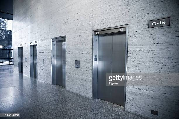 Elevators in a modern office building
