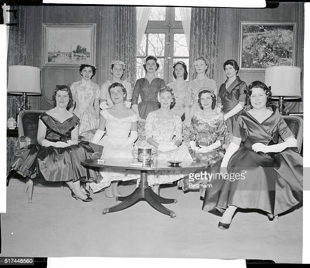 Eleven American debutantes were among 500 girls presented to Queen Elizabeth II and the Duke of Edinburgh at the Court of St James Left to right Lane...