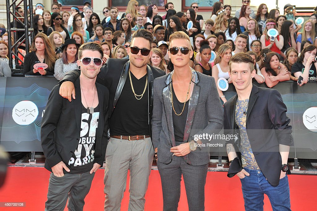 Eleven Past One arrive at the 2014 MuchMusic Video Awards at MuchMusic HQ on June 15, 2014 in Toronto, Canada.