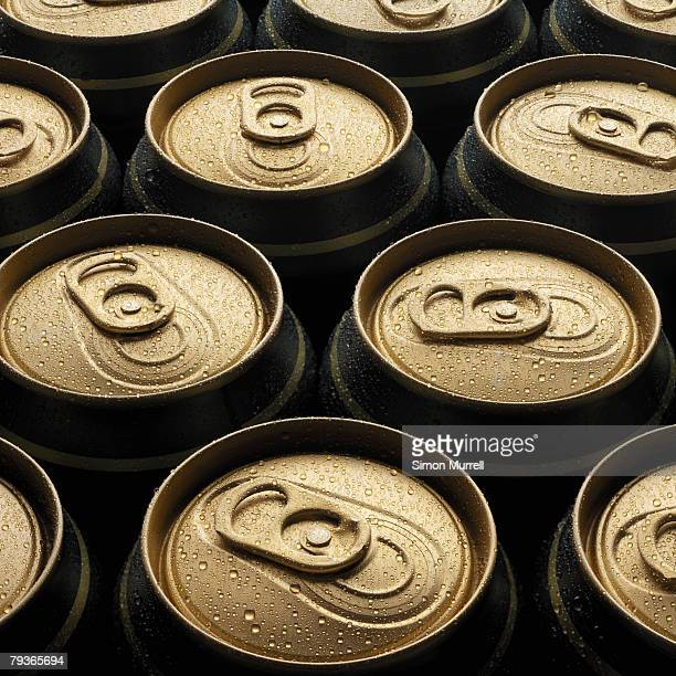 Eleven wet beer cans outdoors
