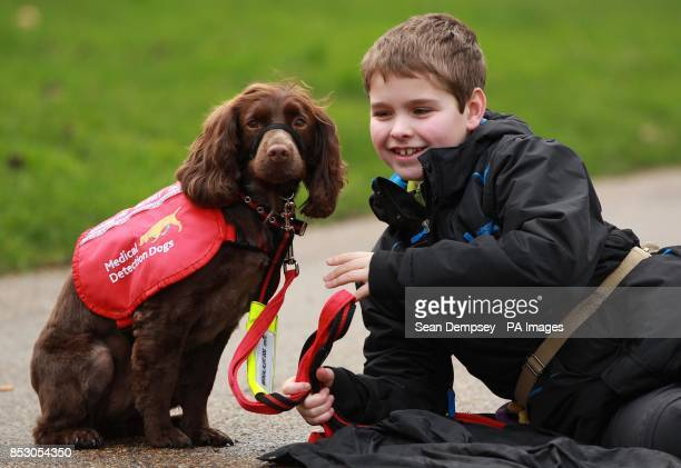 Eleven year old Steven Courtney from Bicester in Oxfordshire with his Cocker Spaniel Molls at the announcement of the finalist of the Crufts dog hero...