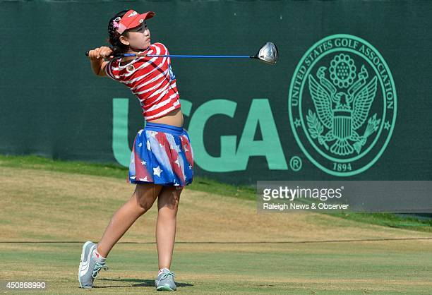 Elevenyearold Lucy Li tees off on the first hole in the opening round of the Women's US Open at Pinehurst No 2 in Pinehurst NC on Thursday June 19...