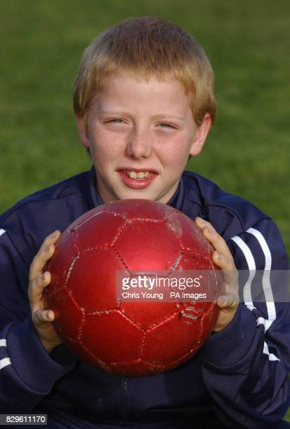 Elevenyearold schoolboy Peter Roberts after he struck the Prince of Wales with a football during the Prince's visit to the Hub Sports Centre The...