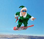 'Elf' flying on 'jet board', holding present (digital composite)