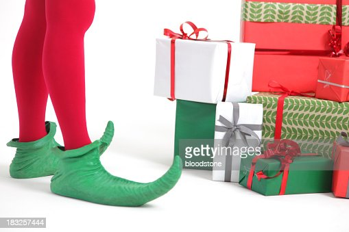 Elf with christmas presents