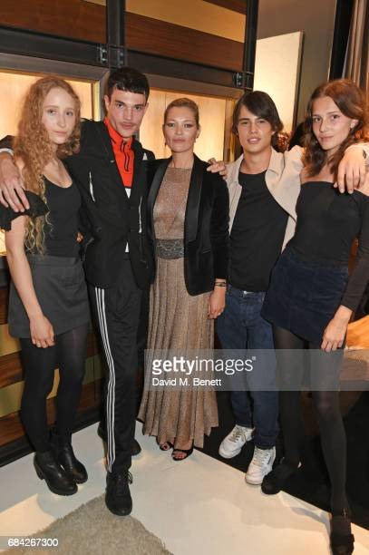 Elfie Reigate Luka Isaac Kate Moss Louis Baines and Anna Lea Gardner attend the launch of the KATE MOSS X ARA VARTANIAN collection on May 17 2017 in...