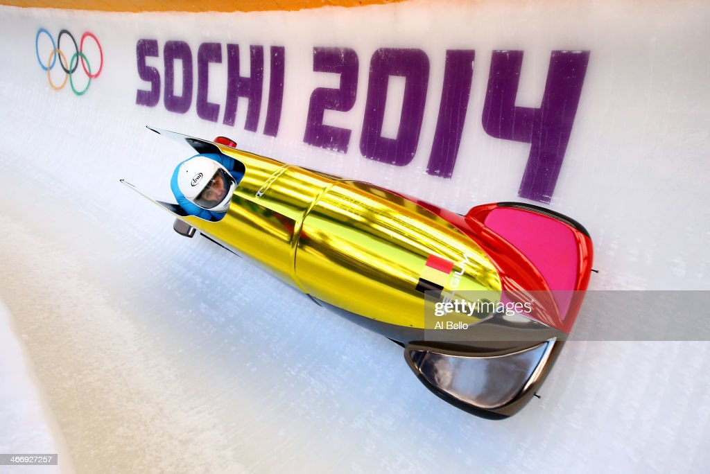 Elfje Willemsen and Hanna Emilie Marien of Belgium practice a bobsleigh run ahead of the Sochi 2014 Winter Olympics at the Sanki Sliding Center on...