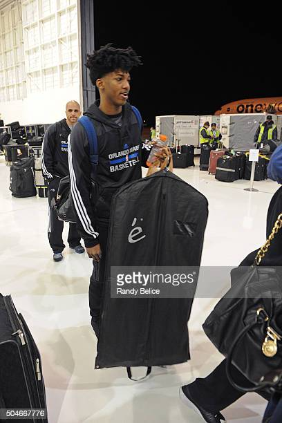 Elfrid Payton of the Orlando Magic boards the charter enroute to London as part of the 2016 Global Games London on January 11 2016 in Orlando Florida...