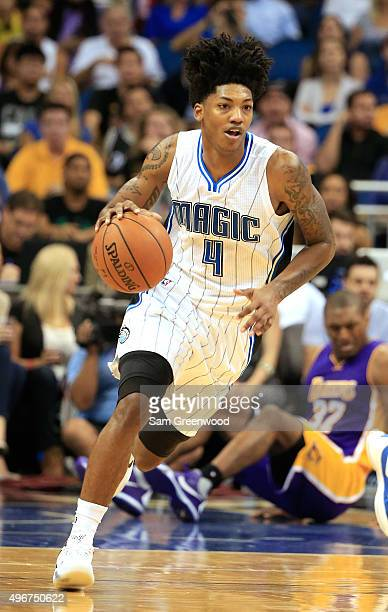 Elfrid Payton of the Orlando Magic brings the ball down court during the game against the Los Angeles Lakers at Amway Center on November 11 2015 in...