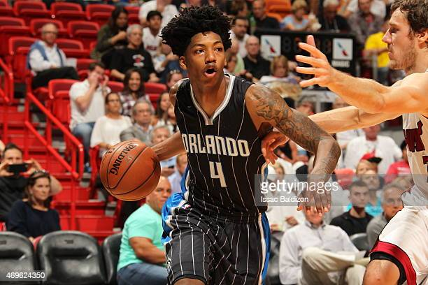 Elfrid Payton of the Orlando Magic brings the ball up court against the Miami Heat on April 13 2015 at American Airlines Arena in Miami Florida NOTE...