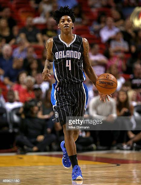 Elfrid Payton of the Orlando Magic brings the ball up the floor during a game against the Miami Heat at American Airlines Arena on April 13 2015 in...