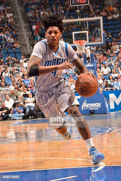 Elfrid Payton of the Orlando Magic drives to the basket against the New York Knicks on April 11 2015 at Amway Center in Orlando Florida NOTE TO USER...