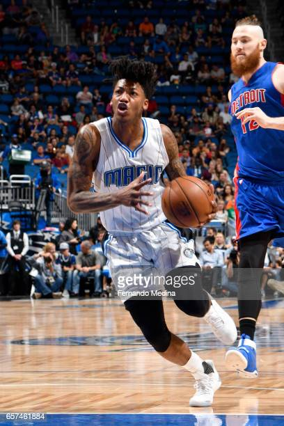Elfrid Payton of the Orlando Magic drives to the basket against the Detroit Pistons on March 24 2017 at Amway Center in Orlando Florida NOTE TO USER...