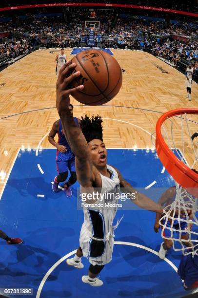 Elfrid Payton of the Orlando Magic dunks against the Detroit Pistons on April 12 2017 at the Amway Center in Orlando Florida NOTE TO USER User...