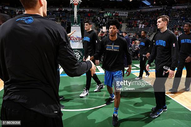 Elfrid Payton of the Orlando Magic gets introduced before the game against the Milwaukee Bucks on April 1 2016 at the BMO Harris Bradley Center in...