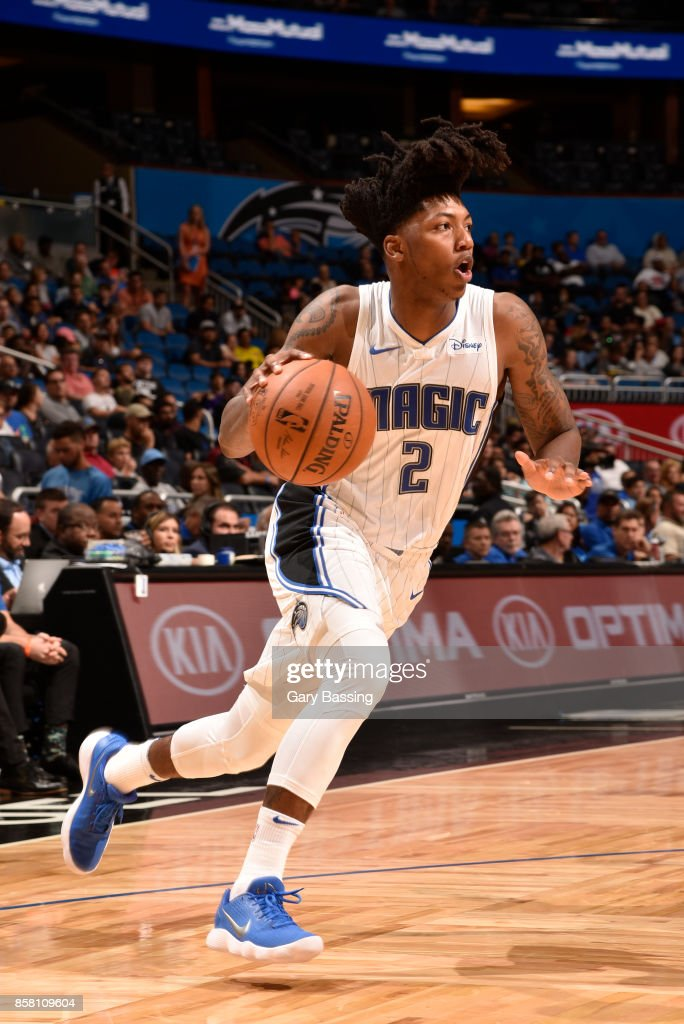 Elfrid Payton #2 of the Orlando Magic handles the ball against the Dallas Mavericks during a preseason game on October 5, 2017 at Amway Center in Orlando, Florida.