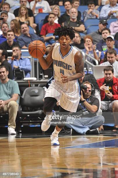 Elfrid Payton of the Orlando Magic handles the ball against the Minnesota Timberwolves on November 18 2015 at Amway Center in Orlando Florida NOTE TO...