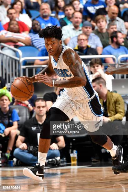 Elfrid Payton of the Orlando Magic handles the ball against the Charlotte Hornets on March 22 2017 at Amway Center in Orlando Florida NOTE TO USER...
