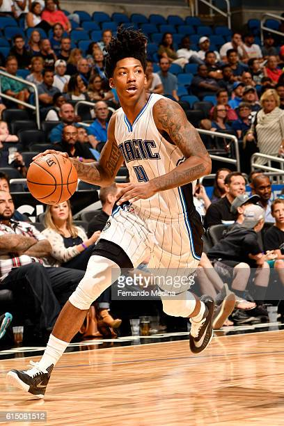 Elfrid Payton of the Orlando Magic handles the ball during a preseason game against the Atlanta Hawks on October 16 2016 at Amway Center in Orlando...