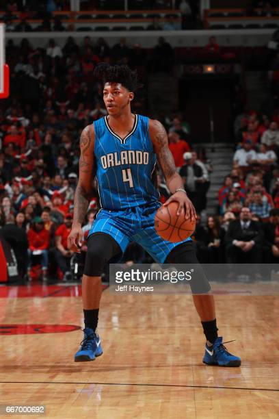 Elfrid Payton of the Orlando Magic handles the ball during a game against the Chicago Bulls on April 10 2017 at the United Center in Chicago Illinois...