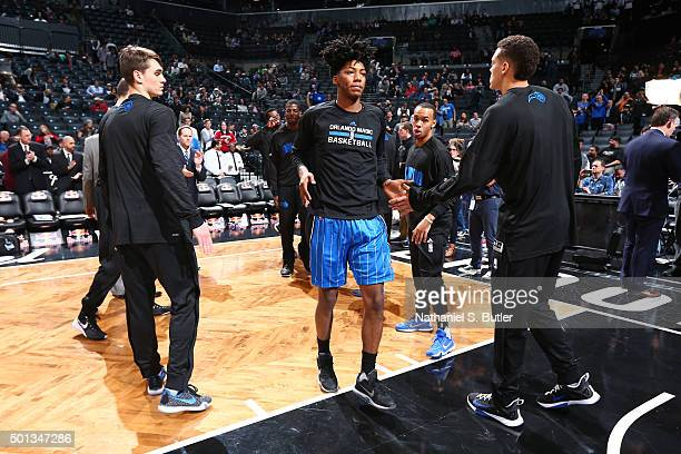 Elfrid Payton of the Orlando Magic is introduced before the game against the Brooklyn Nets on December 14 2015 at Barclays Center in Brooklyn New...