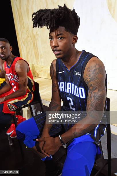 Elfrid Payton of the Orlando Magic poses for a photo to help unveil the new uniforms during the Nike Innovation Summit in Los Angeles California on...