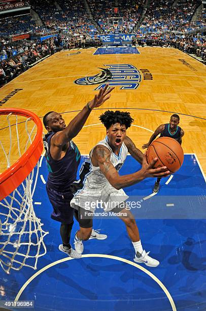 Elfrid Payton of the Orlando Magic shoots the ball against the Charlotte Hornets during a preseason game on October 3 2015 at Amway Center in Orlando...