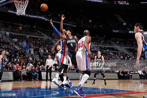 Elfrid Payton of the Orlando Magic shoots the ball against the Detroit Pistons on March 23 2016 at The Palace of Auburn Hills in Auburn Hills...