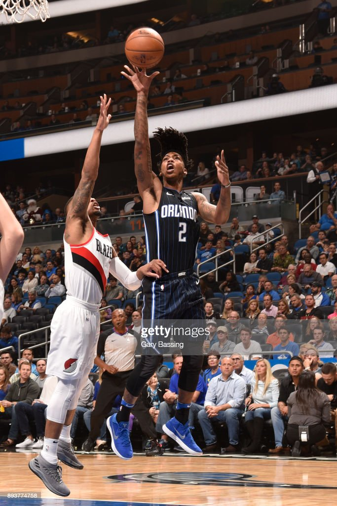 Elfrid Payton #2 of the Orlando Magic shoots the ball against the Portland Trail Blazers on December 15, 2017 at Amway Center in Orlando, Florida.