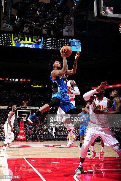 Elfrid Payton of the Orlando Magic shoots the ball during the game against the Atlanta Hawks on December 13 2016 at Philips Center in Atlanta Georgia...