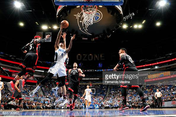 Elfrid Payton of the Orlando Magic shoots the ball during the game against the Toronto Raptors on February 3 2017 at Amway Center in Orlando Florida...