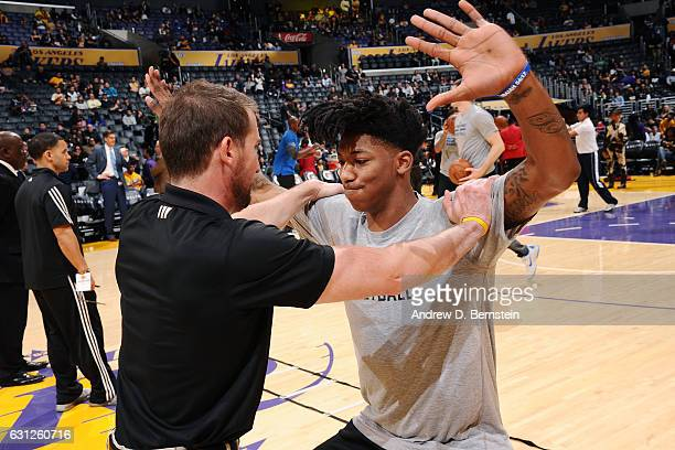 Elfrid Payton of the Orlando Magic stretches before the game against the Los Angeles Lakers on January 8 2017 at STAPLES Center in Los Angeles...