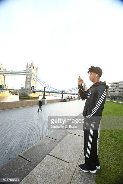 Elfrid Payton of the Orlando Magic takes a photo as part of the 2016 Global Games London on January 13 2016 at the Tower Bridge in London England...