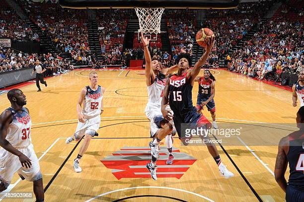 Elfrid Payton of the USA Blue Team goes up for a shot against the USA White Team during Team USA Basketball Showcase on August 13 2015 at the Thomas...