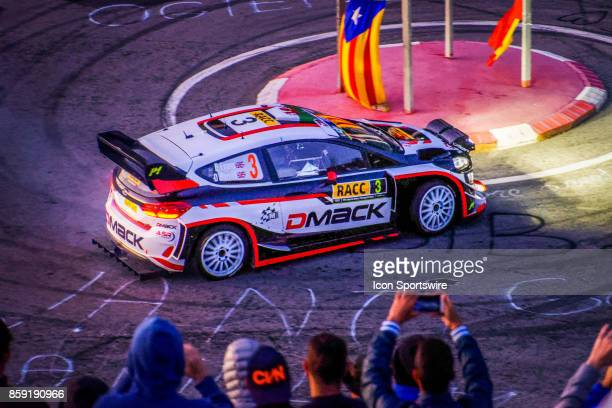 Elfyn Evans and codriver Daniel Barrit of MSport early morning run on the Riudecanyes Stage of the Rally de Espana round of the 2017 FIA World Rally...
