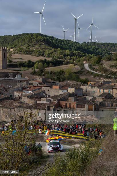 Elfyn Evans and codriver Daniel Barrit of MSport pass thru the village of Conesa during the Savalla Stage of the Rally de Espana round of the 2017...
