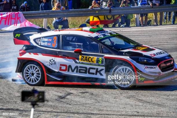 Elfyn Evans and codriver Daniel Barrit of MSport round the famous Riudecanyes roundabouts of the Rally de Espana round of the 2017 FIA World Rally...