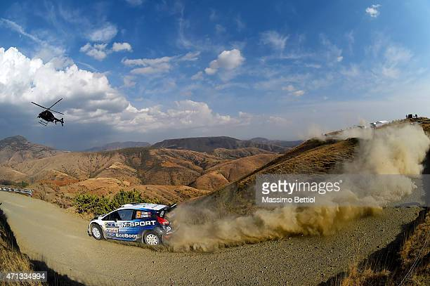 Elfyn Evans of Great Britain and Daniel Barritt of Great Britain compete in their MSport WRT Ford Fiesta RS WRC during Day Two of the WRC Mexico on...
