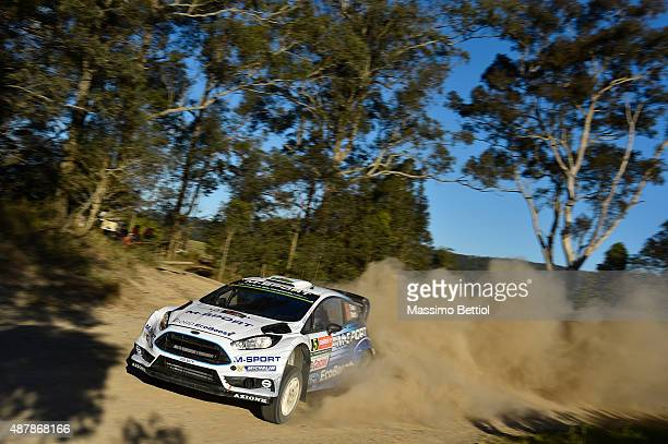 Elfyn Evans of Great Britain and Daniel Barritt of Great Britain compete in their MSport WRT Ford Fiesta RS WRC during Day Two of the WRC Australia...