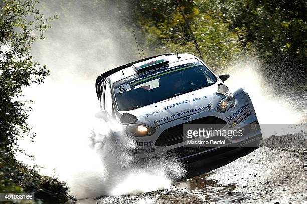 Elfyn Evans of Great Britain and Daniel Barritt of Great Britain compete in their MSport WRT Ford Fiesta RS WRC during Day One of the WRC France on...